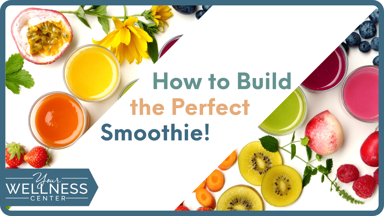 healthy smoothie header image with pictures of colorful fruits